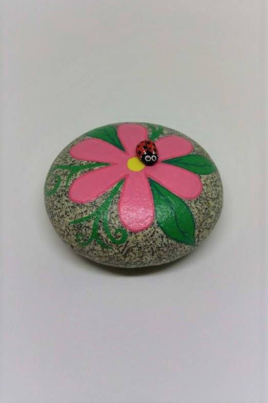 Ladybug Flower Garden Art Hand Painted Rock Waterproof Ocean Stone Pink Petals Green Leaves 3D Artwork Ladybird Gift For Gardener Cute Bug by JoysArtDesigns on Etsy https://www.etsy.com/listing/551498659/ladybug-flower-garden-art-hand-painted