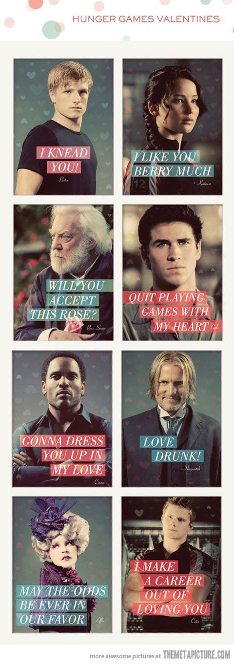 Hunger Games' Valentines… My future husband will get these. Hahaha