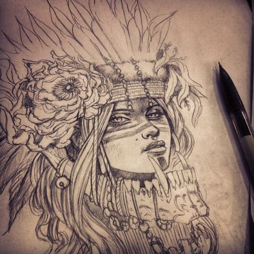Tattoos Wolf Tattoos Headdress Tattoo: Wolf Headdress Drawing - Google Search