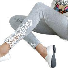 2017 Новый Повседневная Мода Sexy Тонкий Тощий Кружева Крючком Лоскутная Хлопок Эластичность Стретч Высокой Талией Женщины Леггинсы Карандаш Брюки