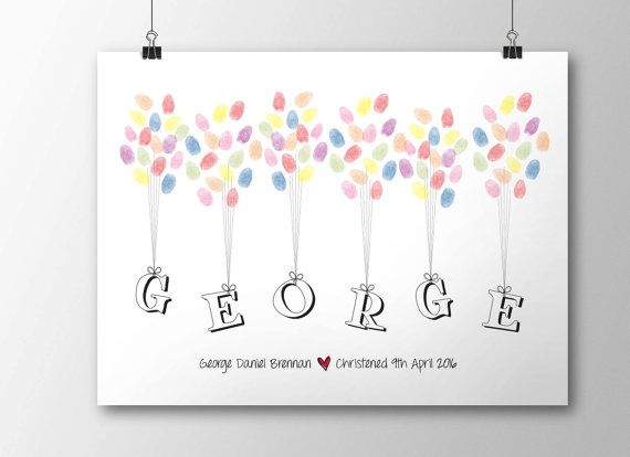 Christening Fingerprint Balloon guestbook A3 by 3littlewordsprint