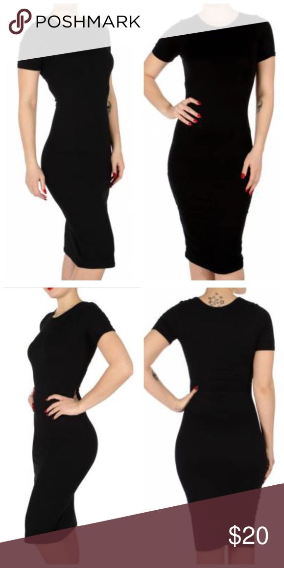 Perfect Spring Body Dress Short sleeve bodycon dress BLK Weight 6.0 oz. 90% Polyester 10% Spandex. Comfortable. Stretchy and breathable boutique Dresses Midi