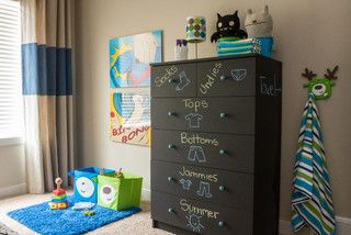 Mark your child's drawer in writing and with a picture of what should be in that drawer.  This was painted in chalkboard paint...What agreat idea!  London Calling - contemporary - kids - calgary - by elle design