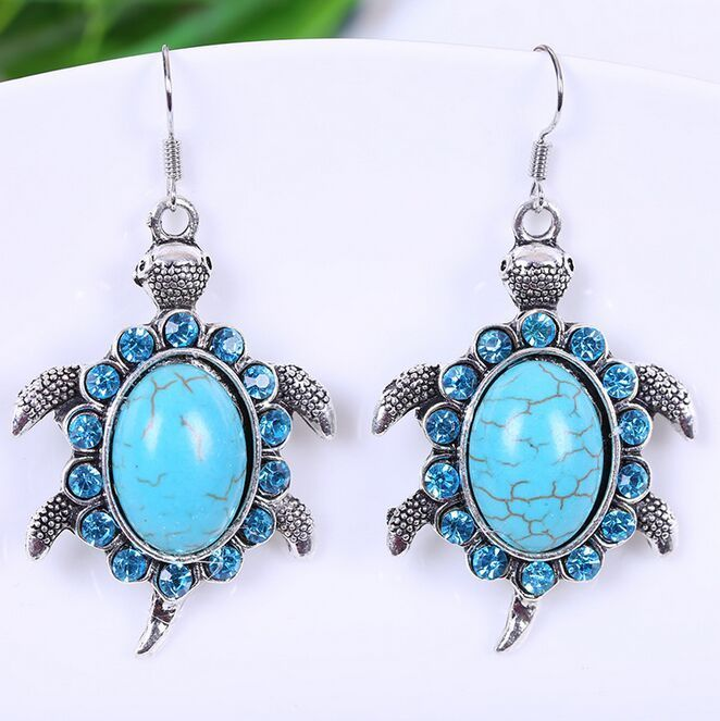 Fashion Women Charm starfish Turquoise Pendant Tibet silver Hook dangle Earrings