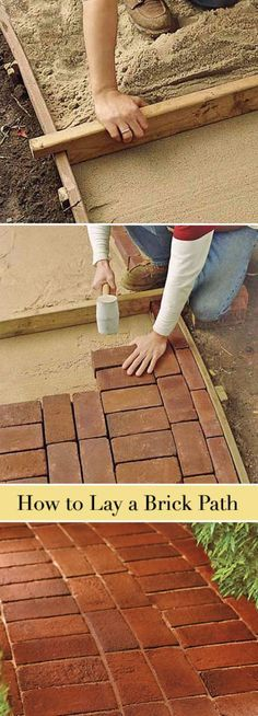 Creative Ways to Increase Curb Appeal on A Budget - Lay A Brick Path - Cheap and Easy Ideas for Upgrading Your Front Porch, Landscaping, Driveways, Garage Doors, Brick and Home Exteriors. Add Window Boxes, House Numbers, Mailboxes and Yard Makeovers http://diyjoy.com/diy-curb-appeal-ideas NOTE How sand is screed