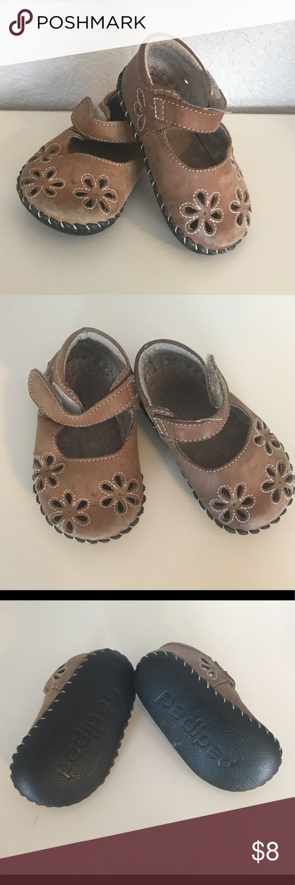 Pediped 6-12 month Mary Janes Timeless brown Pediped Mary Janes.  These go with everything and are extremely comfortable and supportive for little feet.  Worn a lot but have lots of life left.  See pictures for toe wear from my crawler.  Offers always welcome and bundle your likes for the best deals. pediped Shoes Baby & Walker