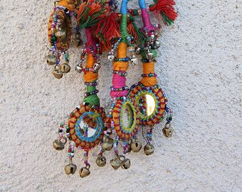 Neutral Small Swag Mirrored Bells Camel Pom Pom by WomanShopsWorld
