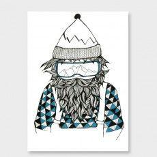 Snowboarder Art Print by Tina Mose