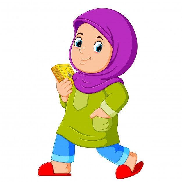 Moslem Girl Walking And Carrying Holy Quran Kartun Objek Gambar Png Gambar