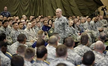 FILE - In this April 25, 2013 file photo, Joint Chiefs Chairman Gen. Martin Dempsey speaks to soldiers of the U.S. Armed Forces in Japan at Yokota Air Base on the outskirts of Tokyo. (AP Photo/Shizuo Kambayashi, File) ▼10Feb2014AP AP analysis of US military sex crimes in Japan http://bigstory.ap.org/article/ap-analysis-us-military-sex-crimes-japan-0 #Martin_Dempsey #Yokota_Air_Base #Yokota #US_Armed_Forces