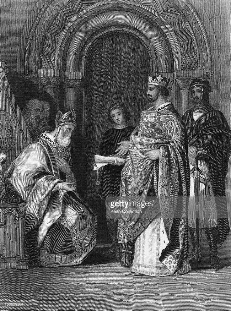 King Henry II of England (1133 - 1189) presents the papal bull Laudabiliter to the Archbishop of Cashel during the Synod of Cashel in Cashel, County Tipperary, Ireland, 1172. Engraving by G. Greatbach after H. Warren.