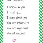 "This one-page poster features a green ""chevron"" background and 6 uplifting statements from you, the teacher, to your students.   It says,   Dea..."