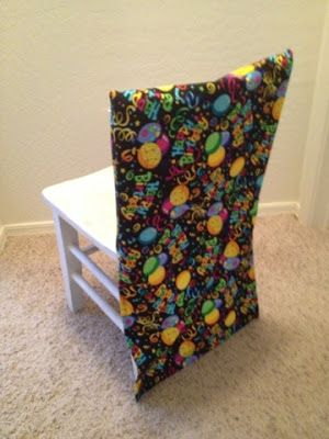 Birthday chair covers- quick, cheap, and fun!