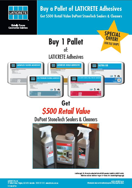August - 31 October LATICRETE Stockists Promo. Laticrete Australia Conversations