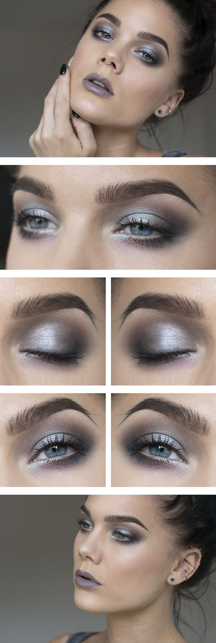 Today's look – Pastel grey. Grey makeup generally looks nice on people with dark features- dark hair, eyes or skin tone.
