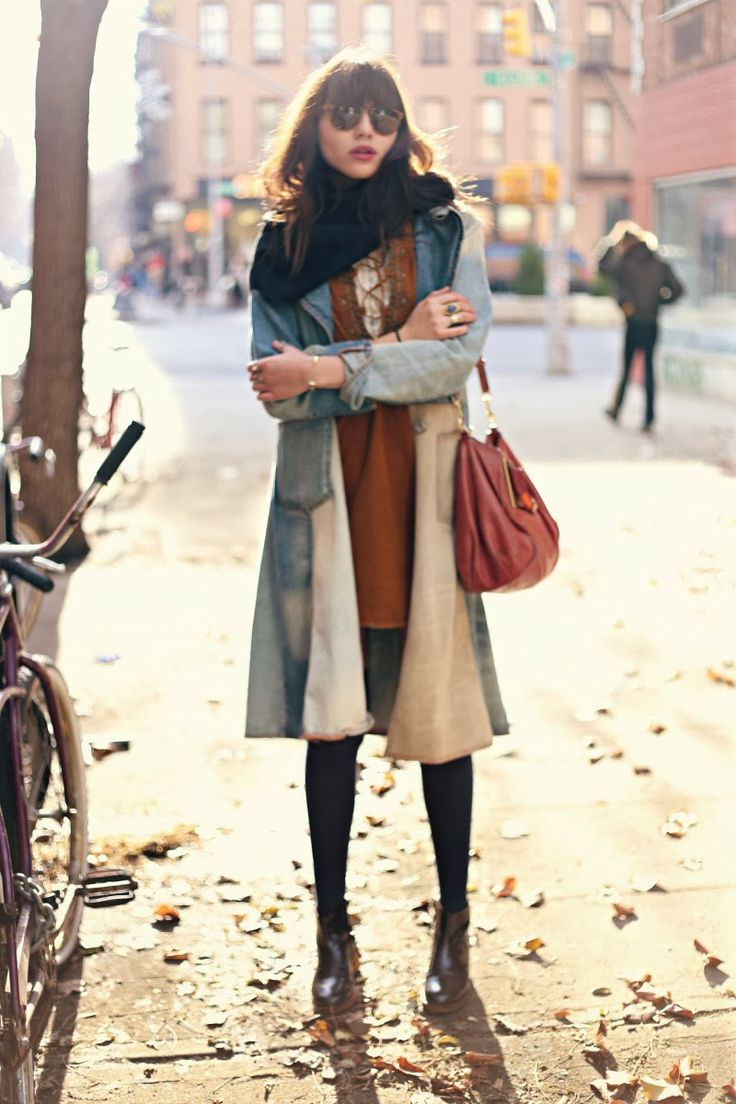 Artisan De Luxe denim jacket, Cuyana scarf, Citizens of Humanity dress, Giles + Brother railroad cuff, Camper boots, Chloe pink handbag