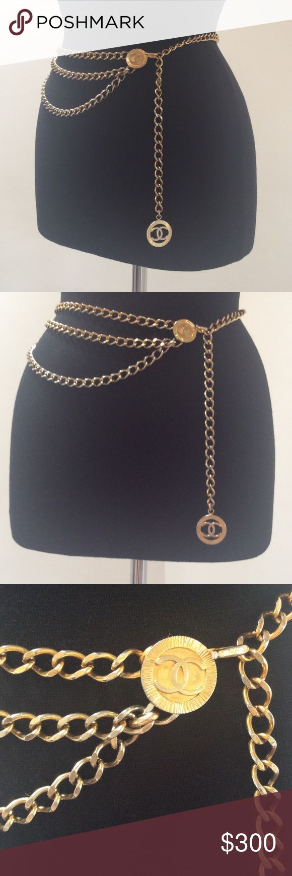 Vintage 1984 Chanel 3 Tier Chain Belt These stunning Chanel Chain Belts are so great to use to power up a simple dress, or to wrap around your neck to add a pop a t-shirt and jeans!  This gorgeous authentic belt is in very good vintage condition, with a beautiful patina--still predominantly gold in color, it has some variation in tone and soft graduated fading that make it the character filled and seductive piece it is! CHANEL Accessories Belts