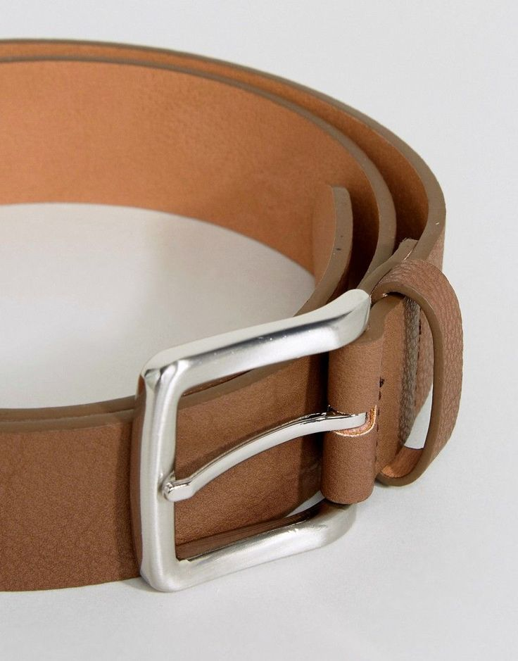 ASOS Faux Leather Wide Belt In Brown With Burnished Silver Buckle - Br