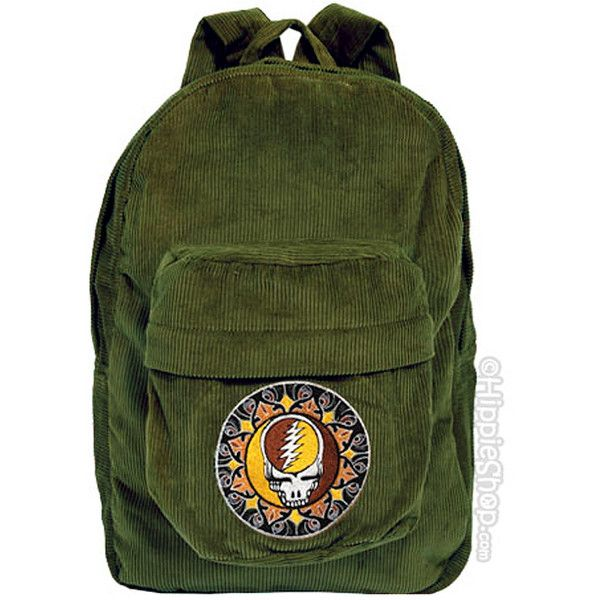 Grateful Dead - Corduroy Steal Your Face Backpack on Sale for $42.95... ($43) ❤ liked on Polyvore featuring bags, backpacks, accessories, corduroy backpack, corduroy bag, rucksack bag, knapsack bags and green bags