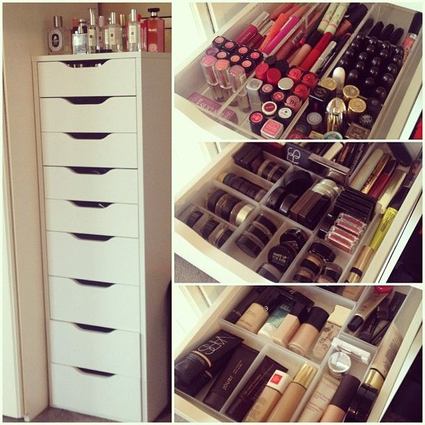Ikea Tall White Alex Drawers. Perfect solution to stay organized and store your makeup collection.