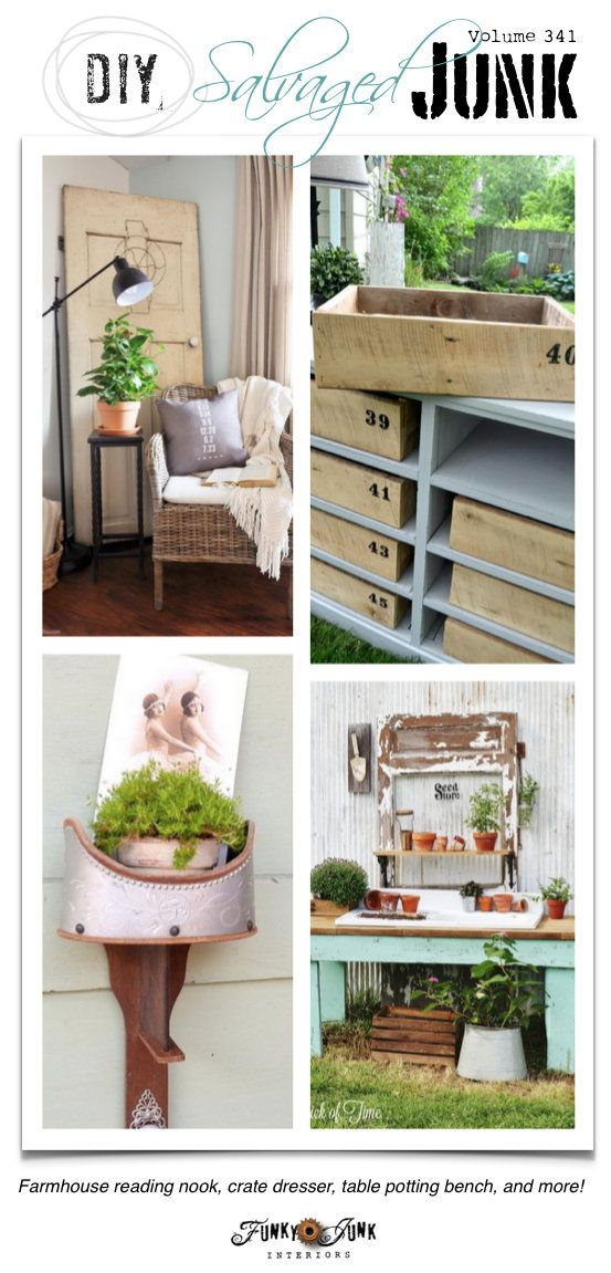DIY Salvaged Junk Projects 341 - Farmhouse reading nook, crate dresser, table…