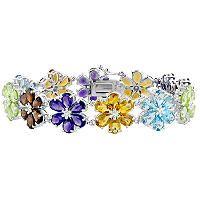 Gem RoManse Multistone Flower Bracelet in Sterling Silver