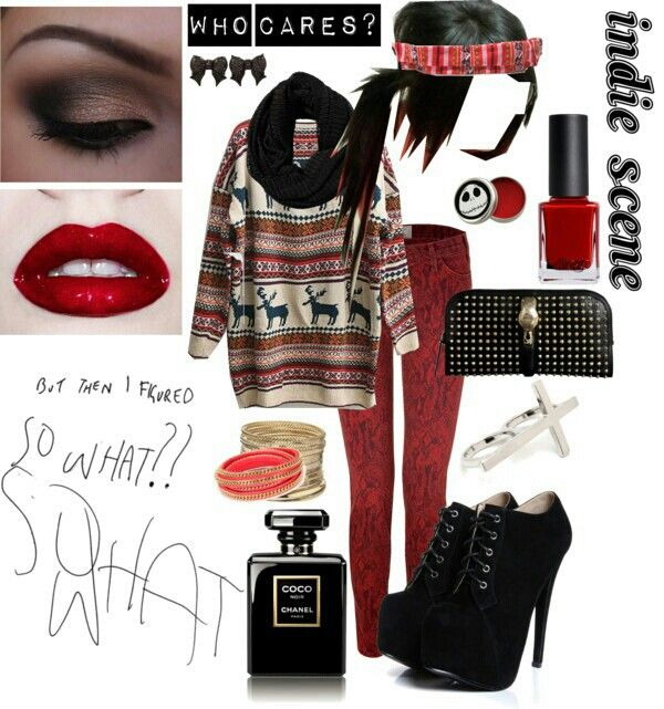 More indie scene but I still love the outfit. The heels are cute but I'm not much for them..
