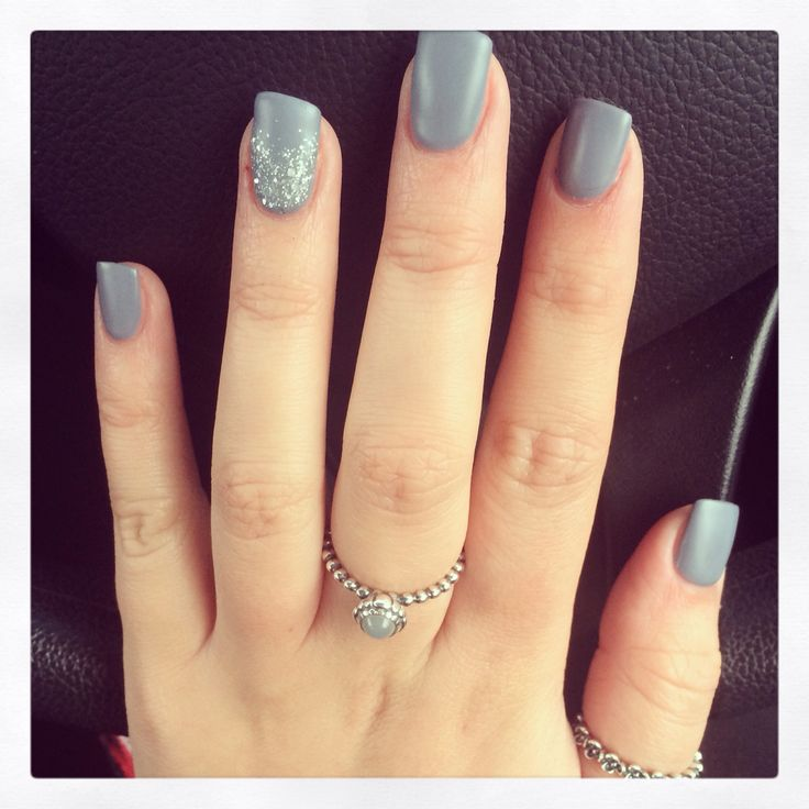 Matte grey acrylic nails