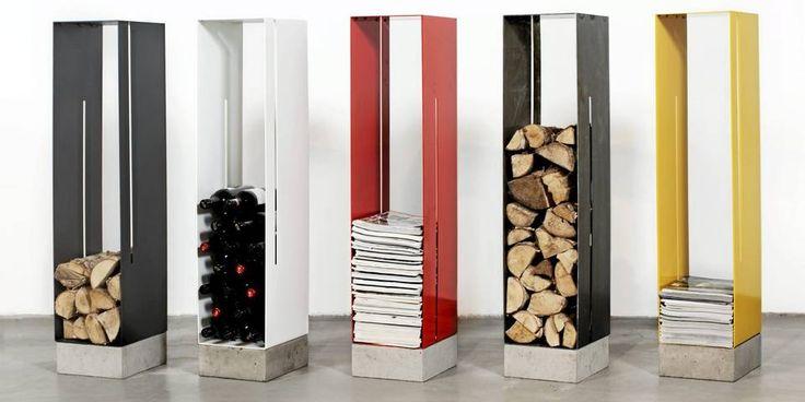 SMÅ SKYSKRAPERE: Betongsokkelen gjør at det slanke stålkabinettet Manhattan står stødig til enhver tid, h 123 cm, kr 3250, tannum.no.