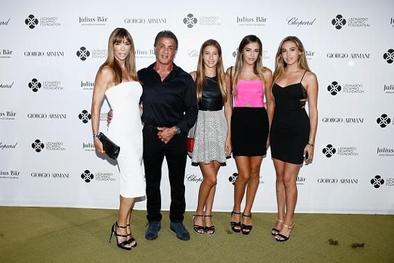 The entire Stallone clan, comprising Sylvester; his wife, Jennifer Flavin; and their three daughters, Sistine Rose, Sophia Rose, and Scarlet Rose, dressed up for the Leonardo DiCaprio Foundation's 2nd Annual Saint-Tropez Gala at Domaine Bertaud Belieu.