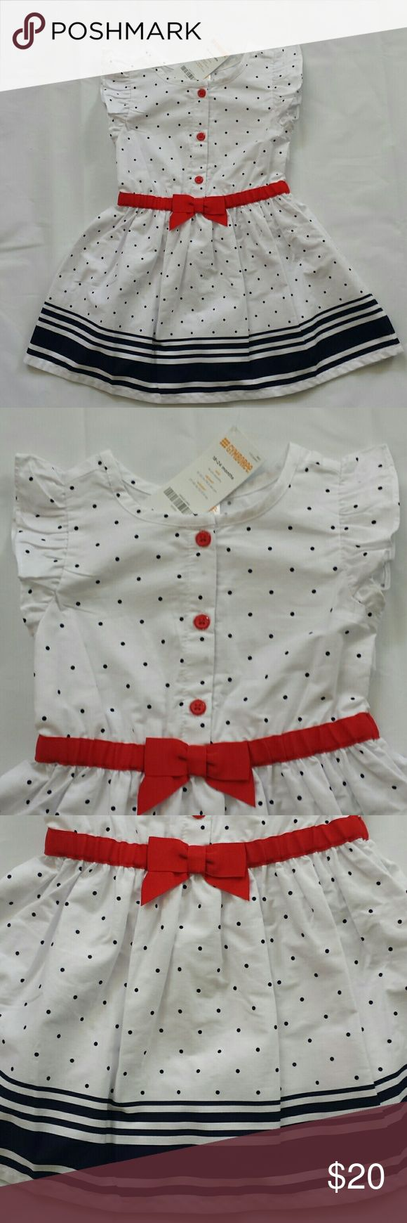 NWT - Gymboree Toddler Girls Dress Beautiful ruffle sleeve, red, white and blue summer dress! From Gymboree, toddler girls size 18-24 mo. 100% cotton, machine washable, easy iron. Perfect for any summer outing, 4th of July event BBQ, cool, comfy and cute!! Gymboree Dresses