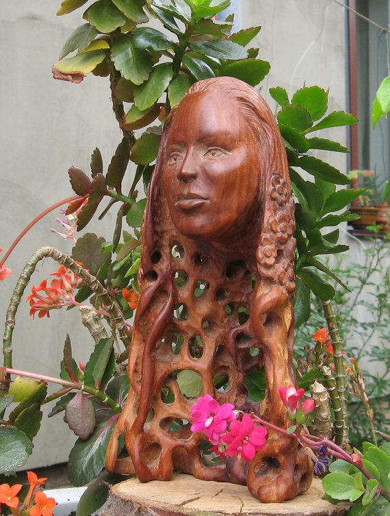 Sweet Spring  Wooden figurine hand carving by WoodSculptureLodge