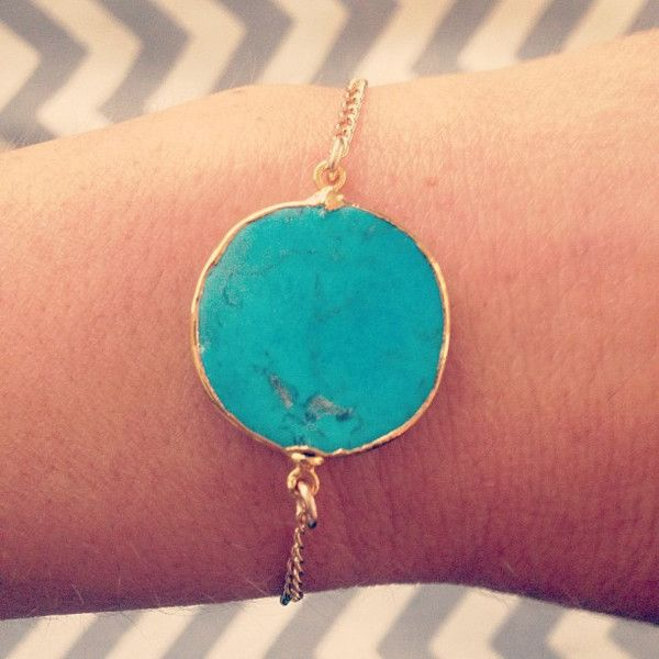 turquoise braclet with gold lining