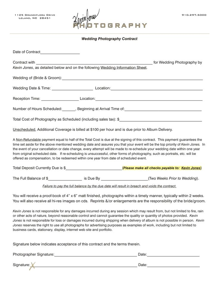 Wedding Photography Contracts Examples: Wedding Photography Contract