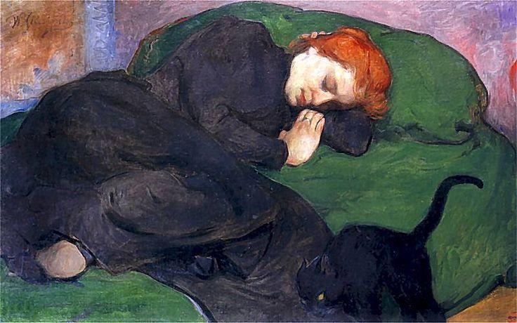 Władysław Ślewiński - Śpiąca kobieta z kotem, 1896