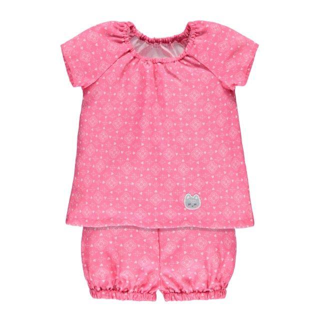 Two-Piece Short Pajamas / Pyjama court deux pièces Rose à motifs Souris Mini