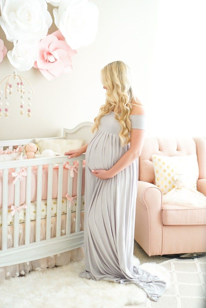 Long grey maternity dress and baby girl nursery...