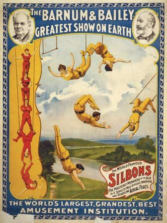 Photograph:Trapeze artists were popular circus performers during the 1800s.