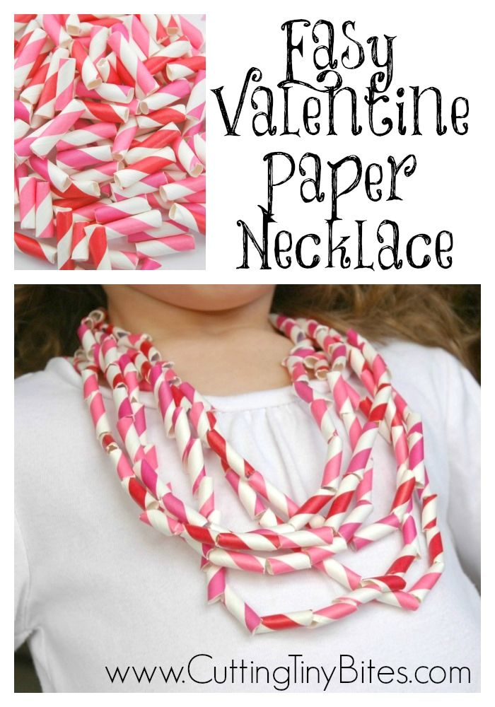 Easy Valentine's Day Paper Necklace Craft for Kids.  Simple enough for toddlers, fun enough for preschoolers, and cool enough for big kids.