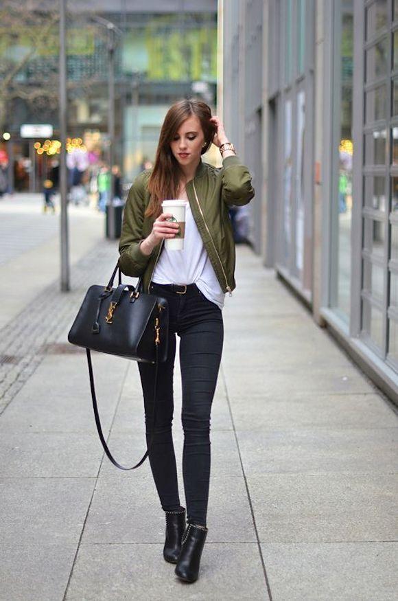 EN IMAGES : 7 looks de blogueuses avec un bomber kaki >> http://www.taaora.fr/blog/post/avec-quoi-porter-une-veste-aviateur-bomber-vert-kaki-looks-blogueuses-mode #streetstyle #outfit #mode                                                                                                                                                      Plus