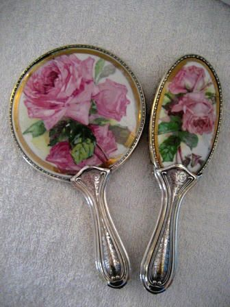 Charming Art Nouveau Hand Mirror Vanity Brush Set With Pink Roses. vintage roses print.