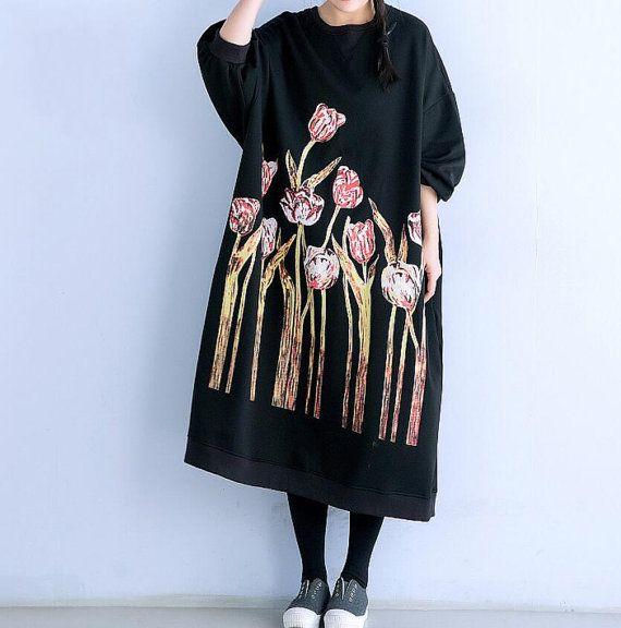 loose fitting long Oversize dress Black large size dress by MaLieb
