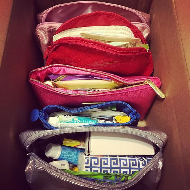 The blessings bags have begun! Stuffing @ipsy bags with things for the battered woman's shelter. #donate #payitforward #youdoittoo