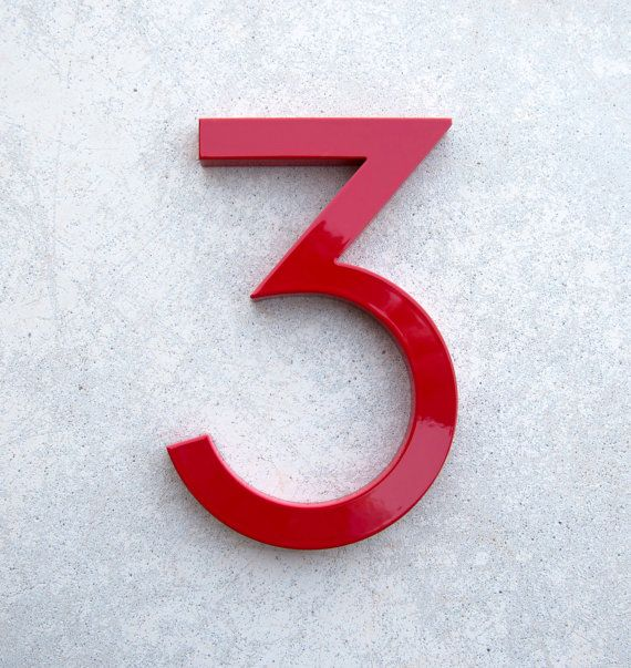 Modern House Number Aluminum Modern Font Number THREE 3 in ...