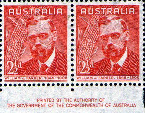 William James FARRER (1845-1906) developer of rust resistant wheat -- Famous Australians 1948