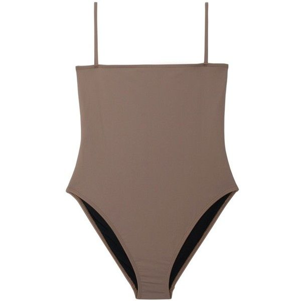 Taupe Straight Top One Piece ($112) ❤ liked on Polyvore featuring swimwear, one-piece swimsuits, 1 piece swimsuit, 1 piece bathing suits, one-piece swimwear, one piece bathing suits and swim swimwear
