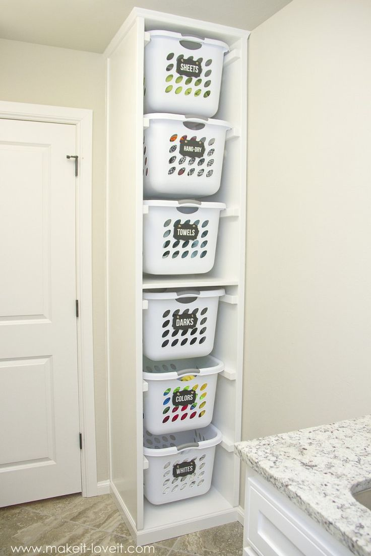 diy laundry basket organizer built in organiser sa buanderie pinterest organisation et. Black Bedroom Furniture Sets. Home Design Ideas