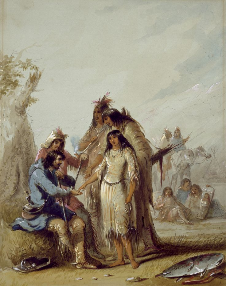 """""""TRAPPER'S BRIDE"""" by Alfred Jacob Miller - The groom is wearing a blue blanket coat with a hood.  He has on fringed buckskin pants and moccasins.  He is wearing simple post type spurs.  At his side is a large black powder horn, probably buffalo, worn over his hunting pouch.  The handle of his knife can be seen protruding from behind his back.  At his feet is a flat-brimmed felt hat with a clay pipe in the hat band.  The best man, behind him, is wearing a hunters hood with"""