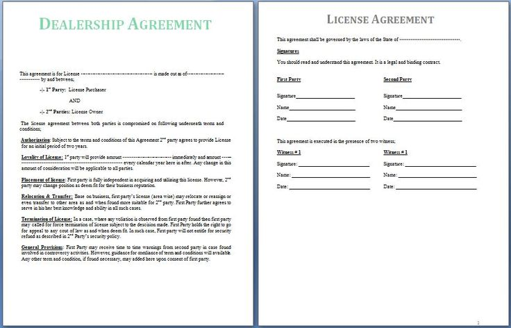 A Dealership Agreement is signed between two parties; the supplier - consultant agreement