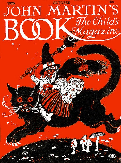 Spooktackular!!! Witch Rides Big Beautiful Black Cat--John Martin's Magazine Cover